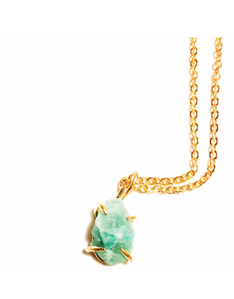 Amazonite Rough Cut Gold Choker Necklace