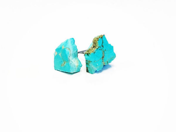 Deconstructed Turquoise Slab Stud Earrings