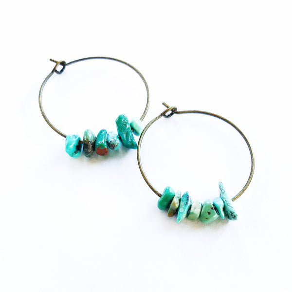 Bronze & Turquoise Chip Hoops