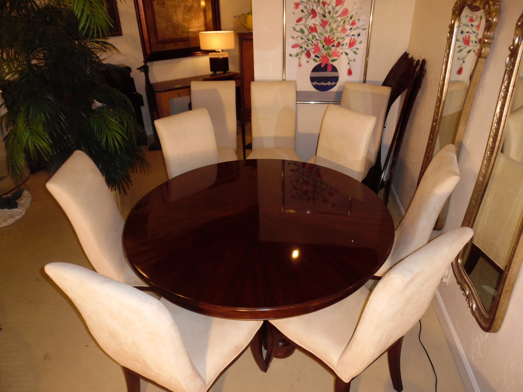 Stanley Furniture Dining Room Round Lacquered Wood Dining Table With 6 Chairs Plus 4 Leaves By