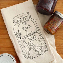 Tea towel with jars