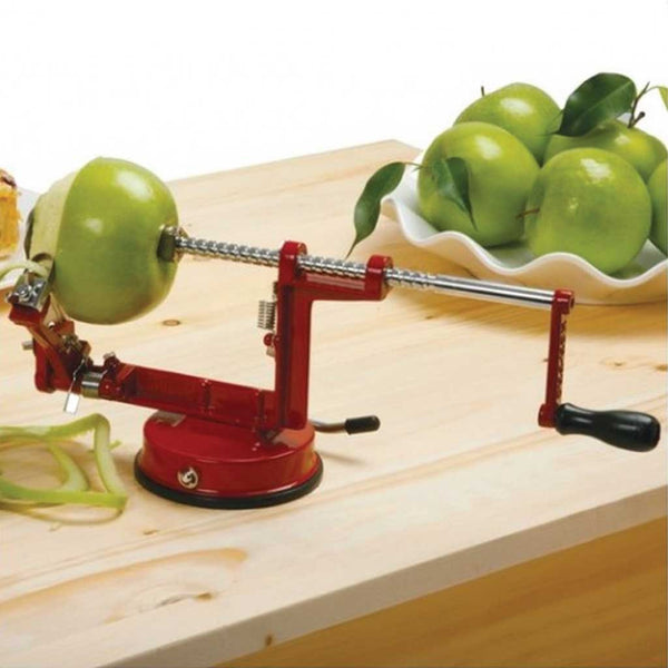 Kitchen tool for peeling, slicing, and coring apples
