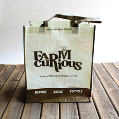 Shopping tote with FARMcurious logo