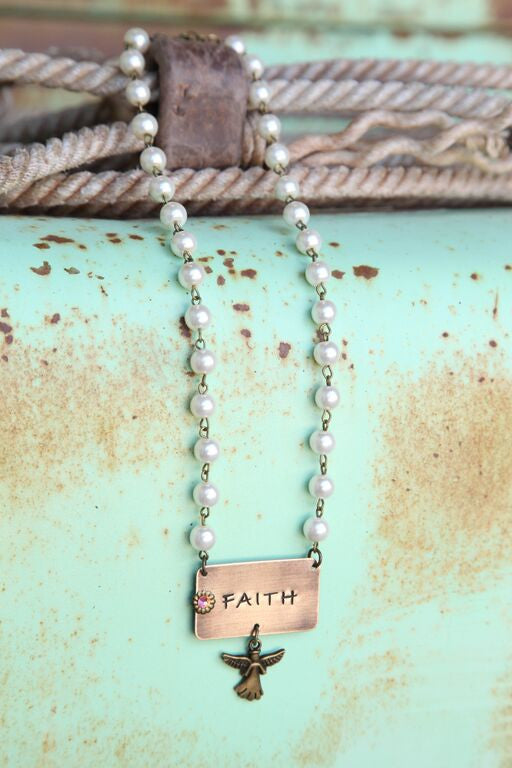 Pearl Linked Necklace w/ Faith Pendant - Pistol Annie's Boutique