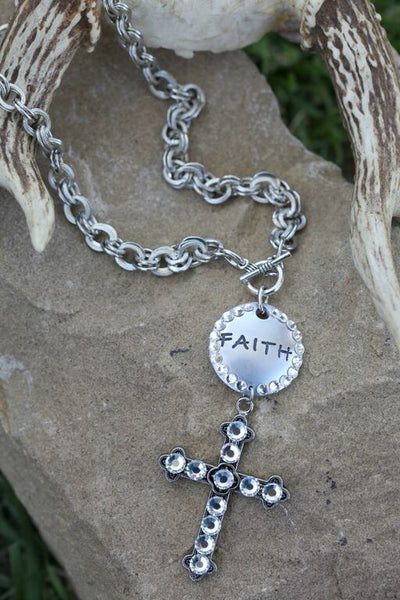 Faith Stamped Disc & Cross Necklace - Pistol Annie's Boutique