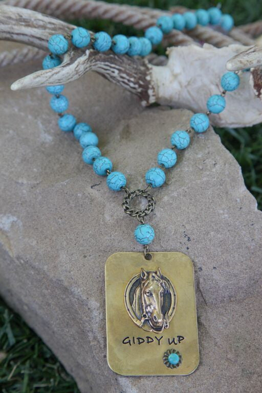 Turquoise Linked Necklace w/ Large Giddy Up Pendant - Pistol Annie's Boutique