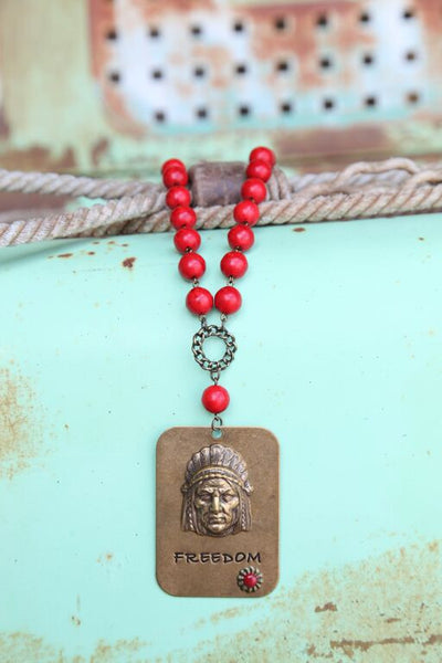 Red Bead Linked Necklace w/ Large Freedom Pendant - Pistol Annie's Boutique