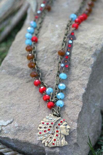 Indian Head Color Block Linked Bronze Necklace - Pistol Annie's Boutique