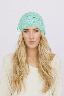 Knitted Lacy Beanie Hat - Pistol Annie's Boutique