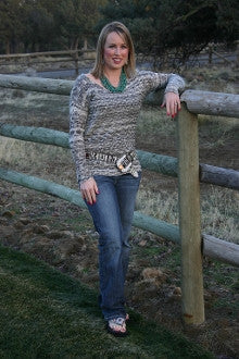 Peppered V Neck Sweater - Pistol Annie's Boutique