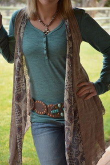 Green Slub Knit Henley - Pistol Annie's Boutique