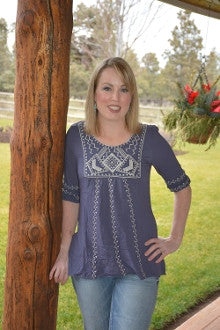 Navajo Embroidered Top in Navy - Pistol Annie's Boutique