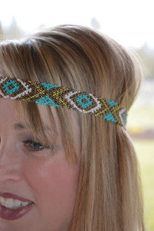 Turquoise & Gold Tribal Stretch Headband - Pistol Annie's Boutique