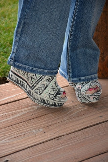 Aztec Pattern Canvas Wedge - Pistol Annie's Boutique