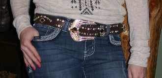 Brown Rhinestone Belt - Pistol Annie's Boutique