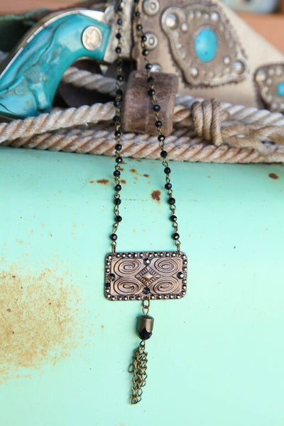Black Bead Chain Linked w/ Aztec Stamped Pendant - Pistol Annie's Boutique