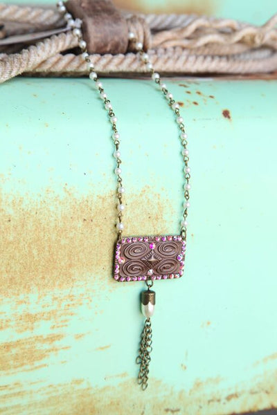 Pearl Chain Linked w/ Aztec Stamped Pendant - Pistol Annie's Boutique