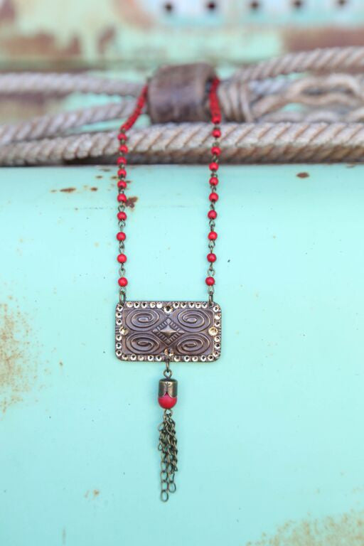 Red Bead Chain Linked w/ Aztec Stamped Pendant - Pistol Annie's Boutique
