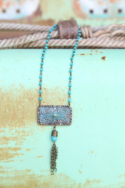 Turquoise Chain Linked w/ Aztec Stamped Pendant - Pistol Annie's Boutique
