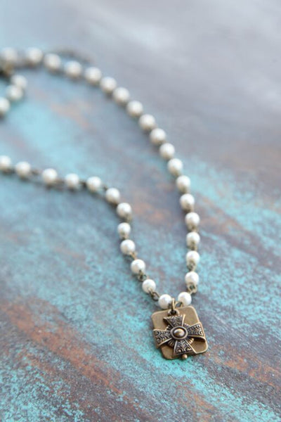 Pearl Bead Chain Linked w/ Mini Iron Cross - Pistol Annie's Boutique