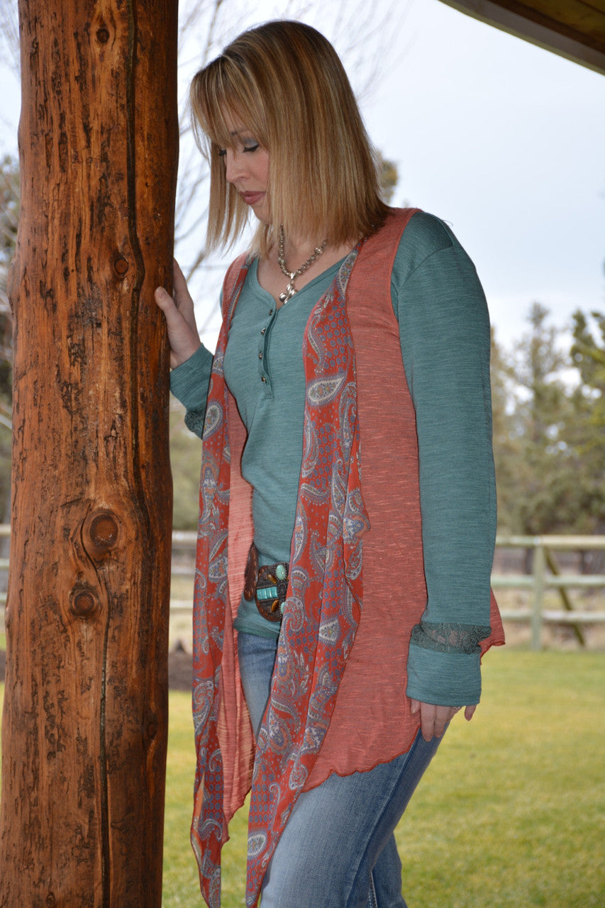 Paisley Print Sleeveless Cardigan - Pistol Annie's Boutique