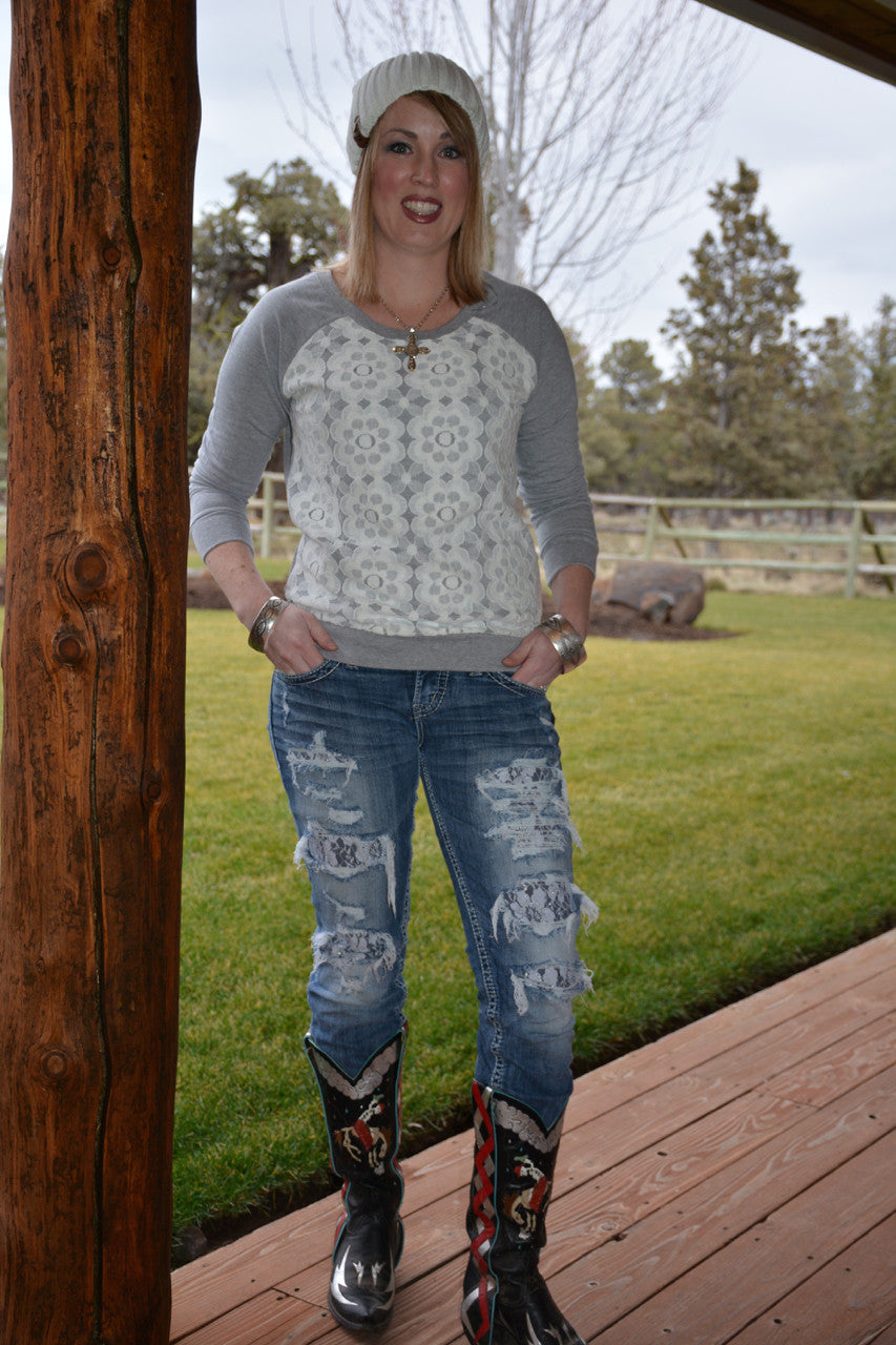 Lace Flower Detailed French Terry Sweatshirt - Pistol Annie's Boutique