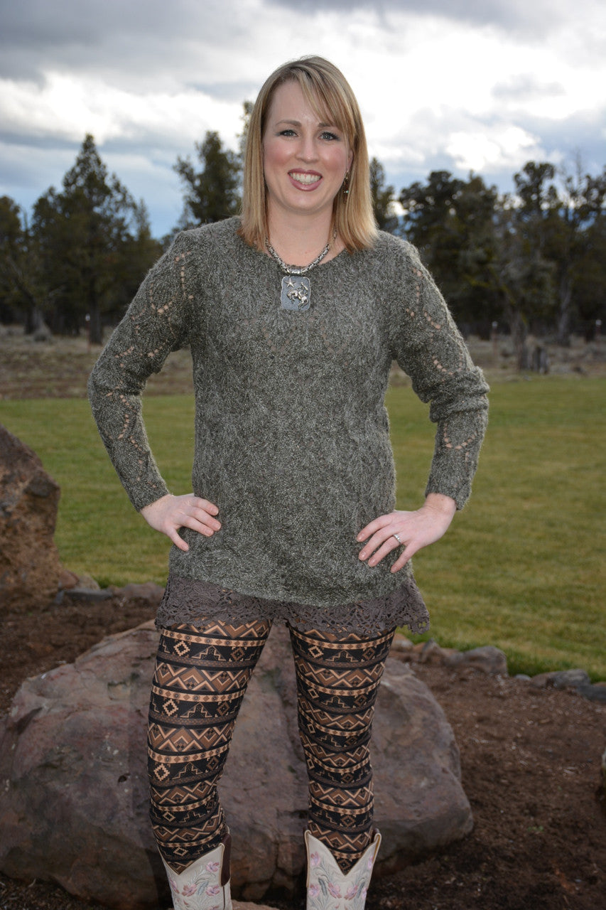Orange Creek Charcoal & Olive Sweater - Pistol Annie's Boutique