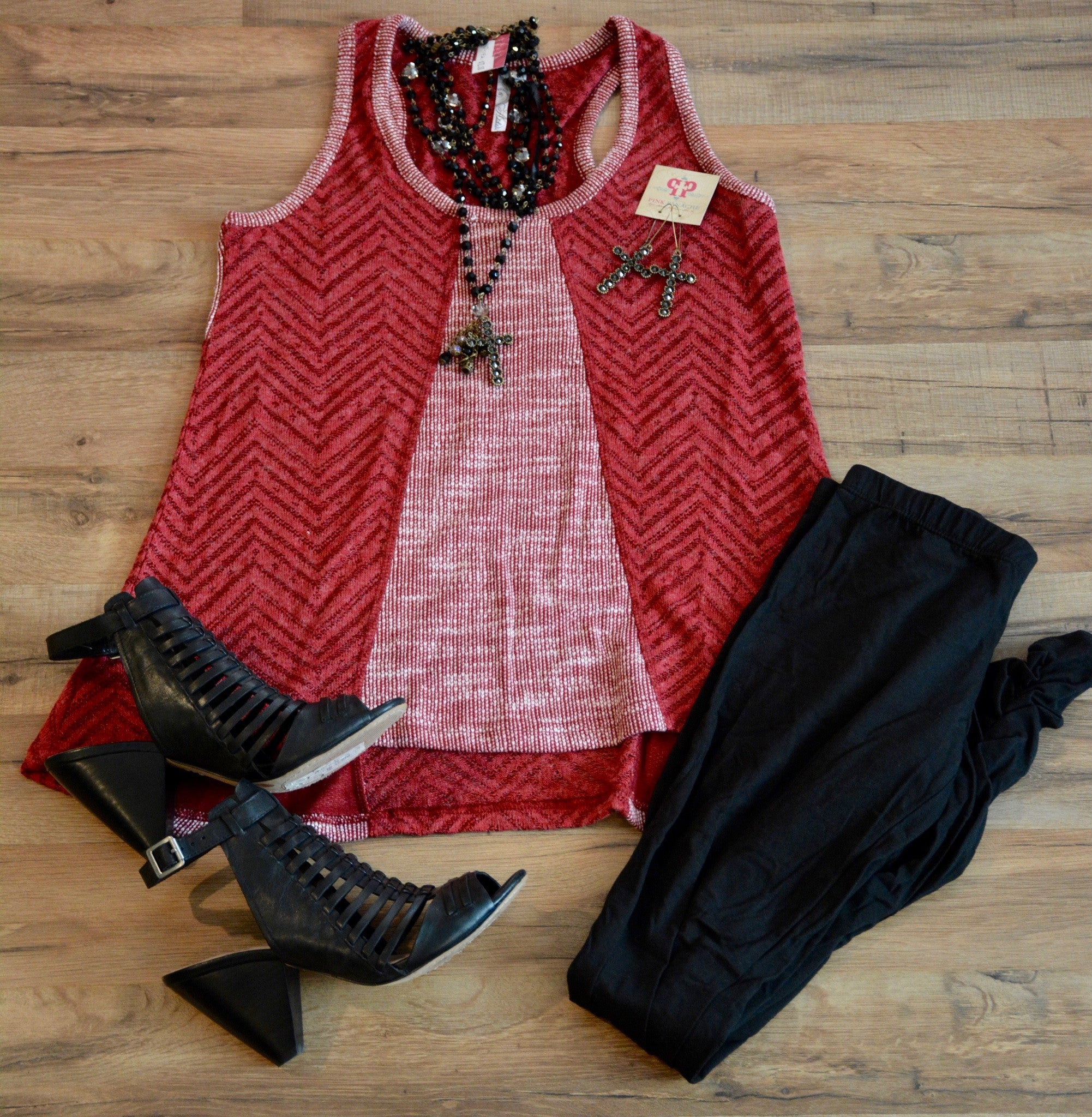 Brick Red Knit Sweater Tank - Pistol Annie's Boutique