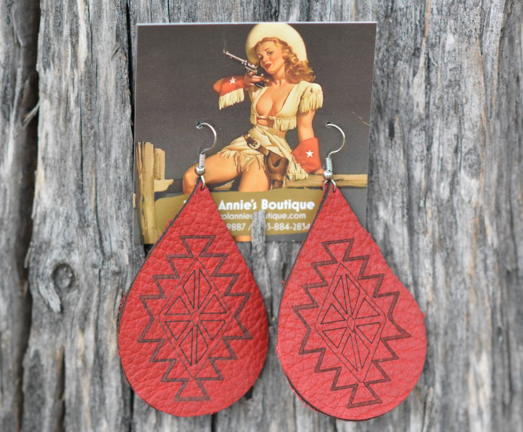 Custom Leather Earrings - Pistol Annie's Boutique