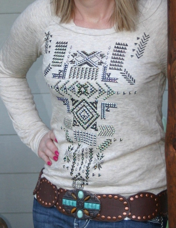 Aztec Rhinestone Top with Peek-a-boo Back - Pistol Annie's Boutique