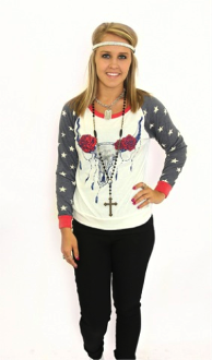 Red White & Blue Skull - Pistol Annie's Boutique