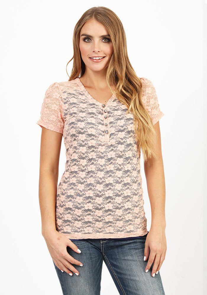 Adiktd Lace Tee with Contrast Lining Details - Pistol Annie's Boutique