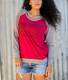 American Flag Baseball Long Sleeve Tee - Pistol Annie's Boutique