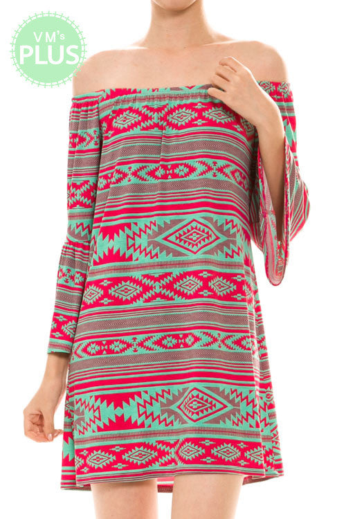Tribal Off the Shoulder Tunic - Pistol Annie's Boutique