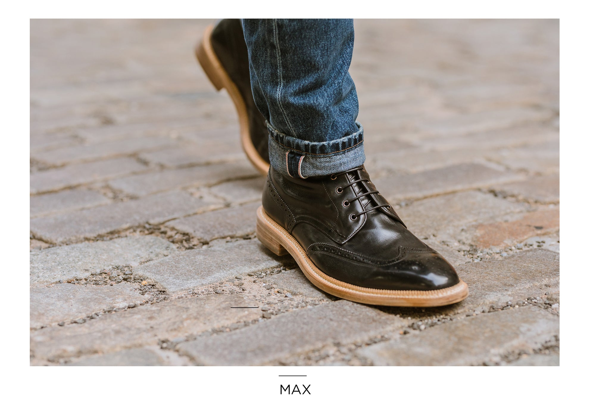 Max Wingtip Boot in Black by Gordon Rush