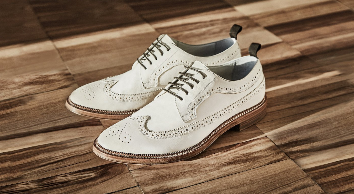 Men White Leather Wingtip Brogue