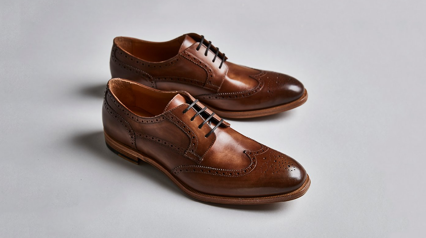 Percy | Mens Brown Leather Wingtip Derby | Business Shoe 2018