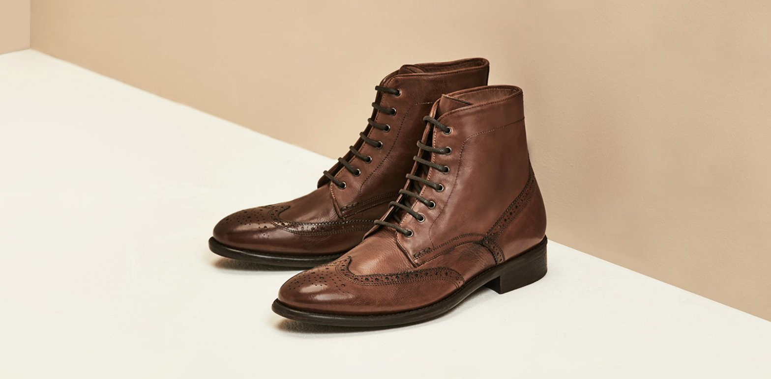 Maxfield | Mens Leather Wingtip Boot | Business Shoe 2018