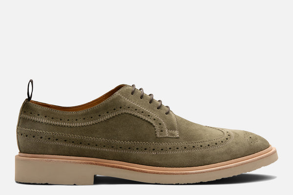 Gordon Rush Arlo Wingtip Shoe Olive Suede Side View