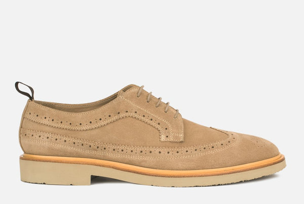 Gordon Rush Arlo Wingtip Shoe Sand Suede Side View
