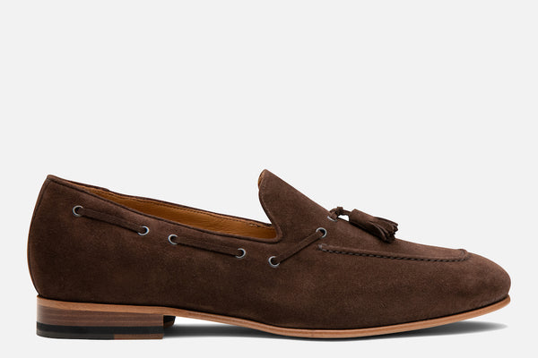 Gordon Rush Bradley Tassel Loafer Espresso/Dark Brown Suede Side View