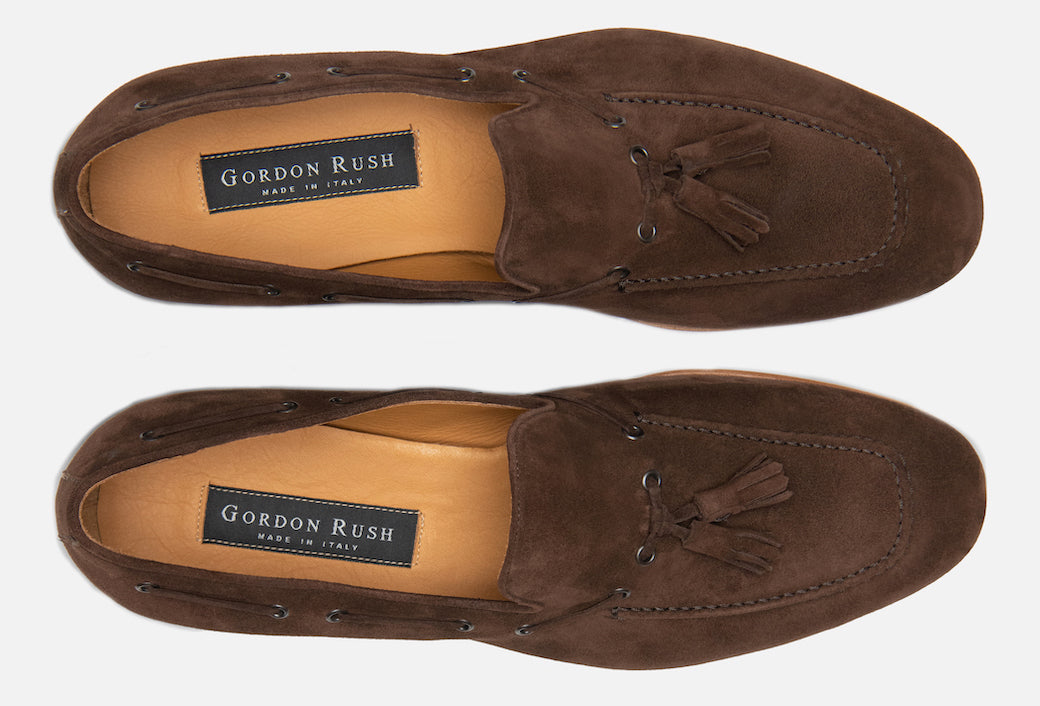 Gordon Rush Bradley Tassel Loafer Espresso/Dark Brown Suede Top View