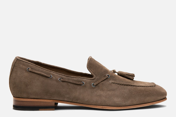 Gordon Rush Bradley Tassel Loafer Taupe Suede Side View