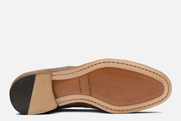 Gordon Rush Bradley Tassel Loafer Taupe Suede Bottom View
