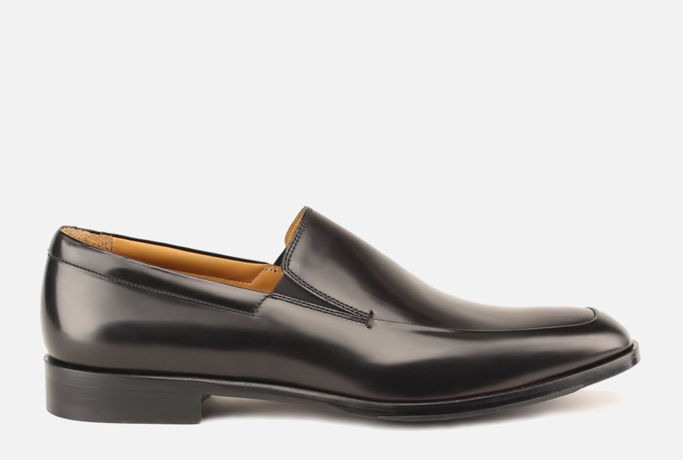Brighton II Black Leather Venetian Loafer