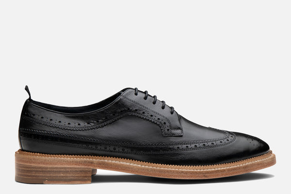 Gordon Rush Bryce Wingtip Shoe in Black Side View