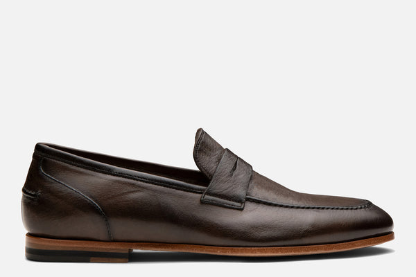Gordon Rush Coleman Penny Loafer Shoe Chocolate Leather Side View