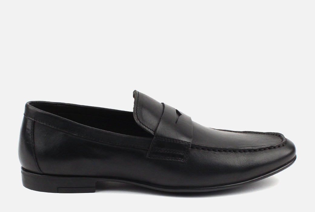 Gordon Rush Connery Penny Loafer Shoe Black Side View