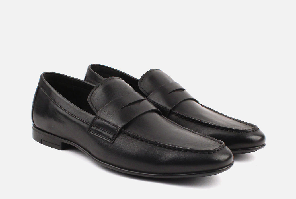 Gordon Rush Connery Penny Loafer Shoe Black Side View Pair