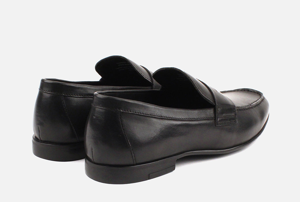 Gordon Rush Connery Penny Loafer Shoe Black Rear View Pair